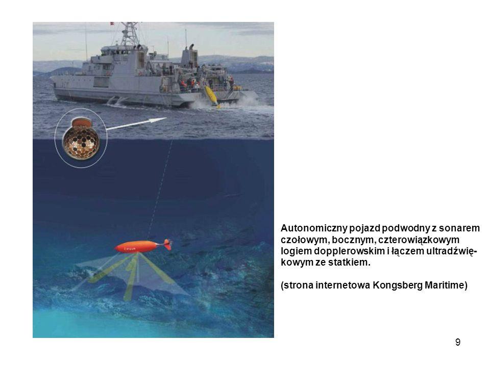 Autonomiczny pojazd podwodny z sonarem czołowym, bocznym, czterowiązkowym logiem dopplerowskim i łączem ultradźwię-kowym ze statkiem.