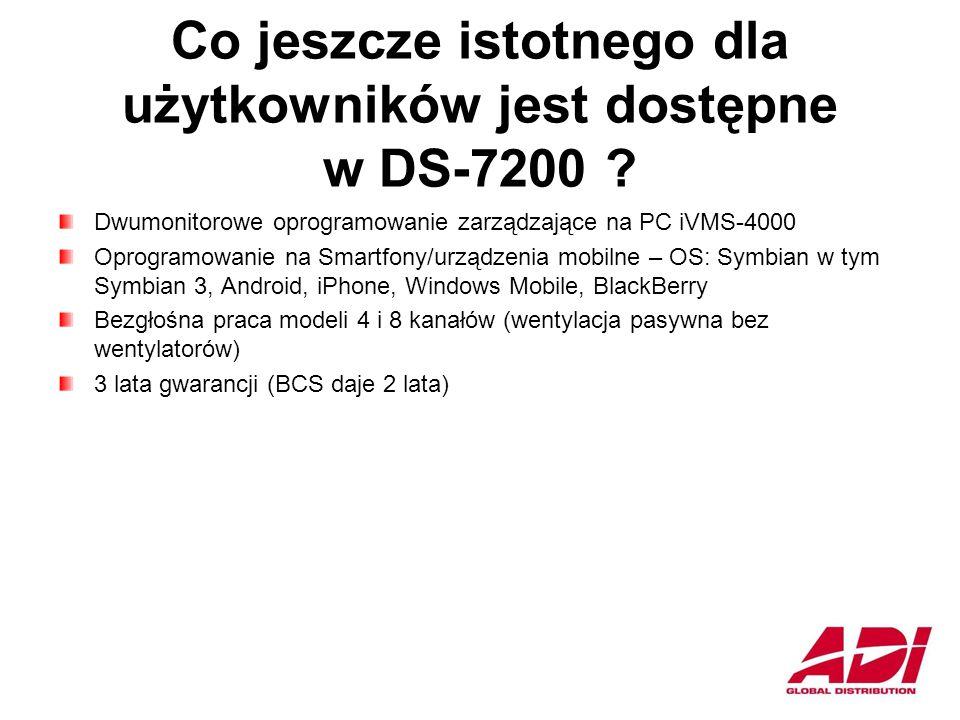 Co jeszcze istotnego dla użytkowników jest dostępne w DS-7200