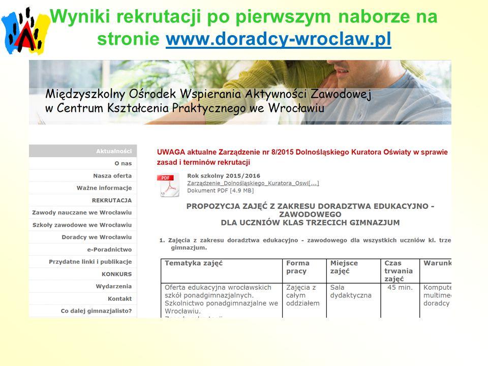 Wyniki rekrutacji po pierwszym naborze na stronie www. doradcy-wroclaw