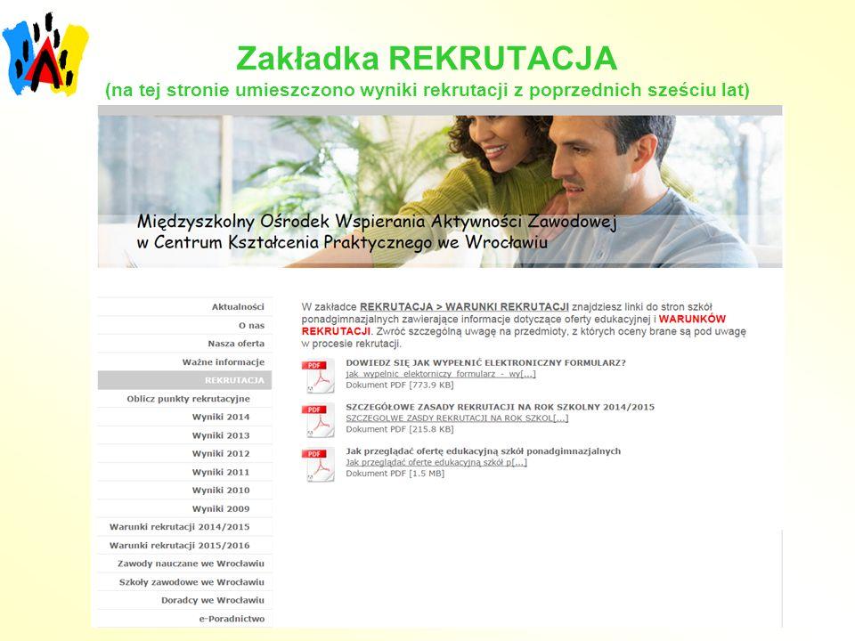 Zakładka REKRUTACJA (na tej stronie umieszczono wyniki rekrutacji z poprzednich sześciu lat)