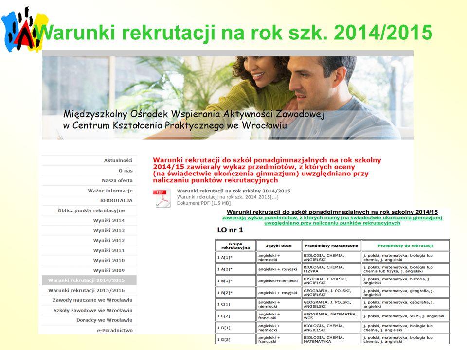 Warunki rekrutacji na rok szk. 2014/2015