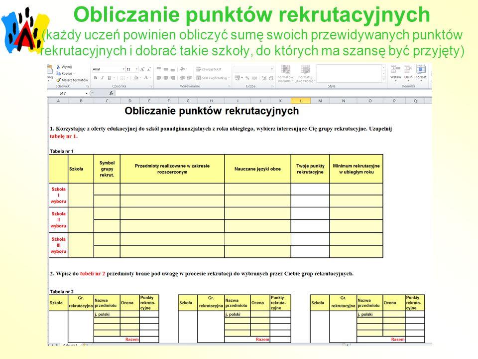 Obliczanie punktów rekrutacyjnych (każdy uczeń powinien obliczyć sumę swoich przewidywanych punktów rekrutacyjnych i dobrać takie szkoły, do których ma szansę być przyjęty)