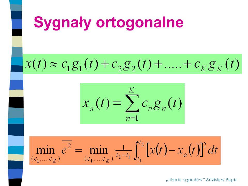 """Sygnały ortogonalne """"Teoria sygnałów Zdzisław Papir"""