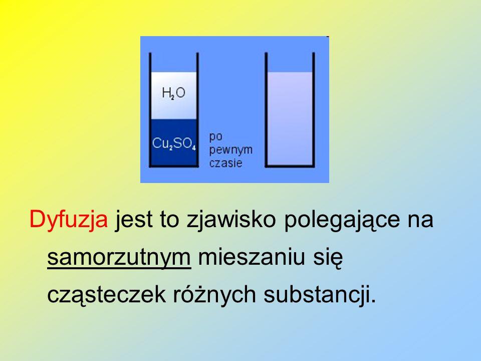 Dyfuzja jest to zjawisko polegające na samorzutnym mieszaniu się cząsteczek różnych substancji.