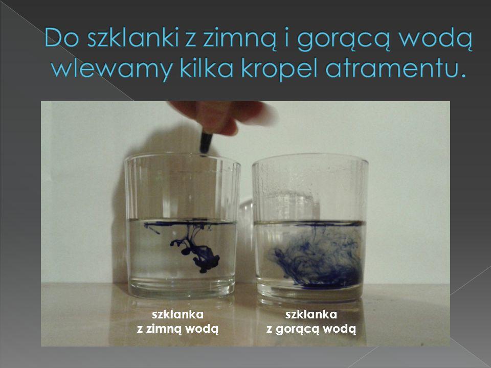 Do szklanki z zimną i gorącą wodą wlewamy kilka kropel atramentu.