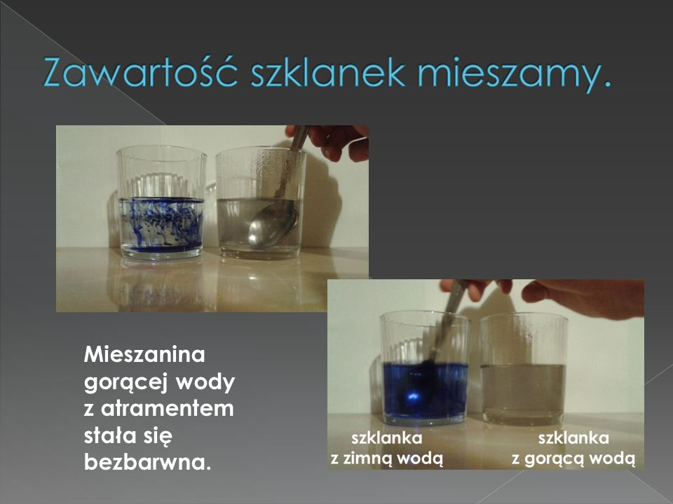 Zawartość szklanek mieszamy.