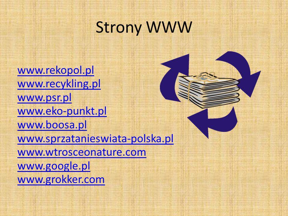 Strony WWW www.rekopol.pl www.recykling.pl www.psr.pl www.eko-punkt.pl