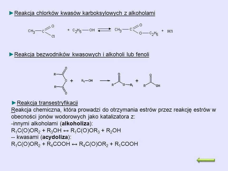 Reakcja chlorków kwasów karboksylowych z alkoholami