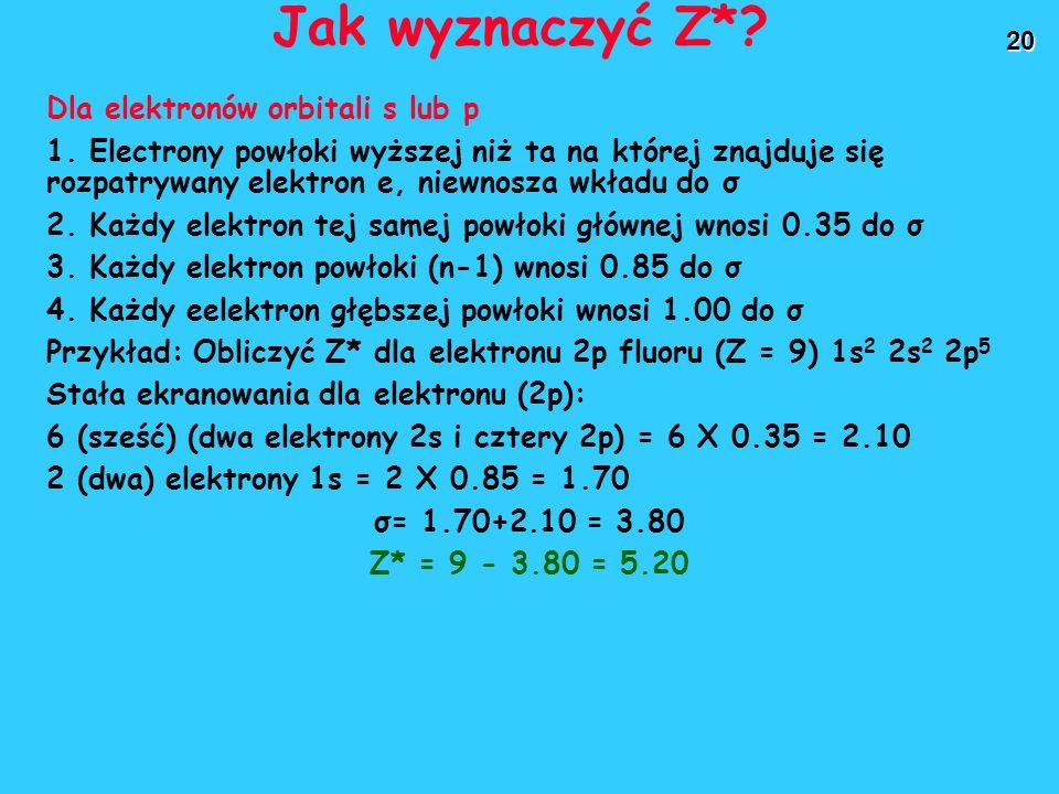 Jak wyznaczyć Z* Dla elektronów orbitali s lub p