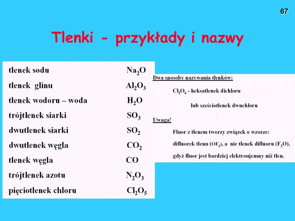 Tlenki - przykłady i nazwy