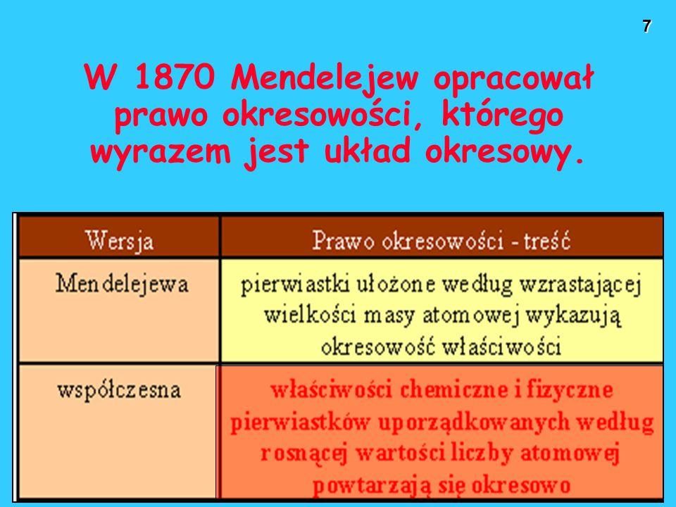 W 1870 Mendelejew opracował prawo okresowości, którego wyrazem jest układ okresowy.
