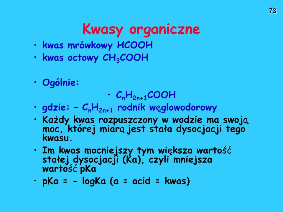 Kwasy organiczne kwas mrówkowy HCOOH kwas octowy CH3COOH Ogólnie: