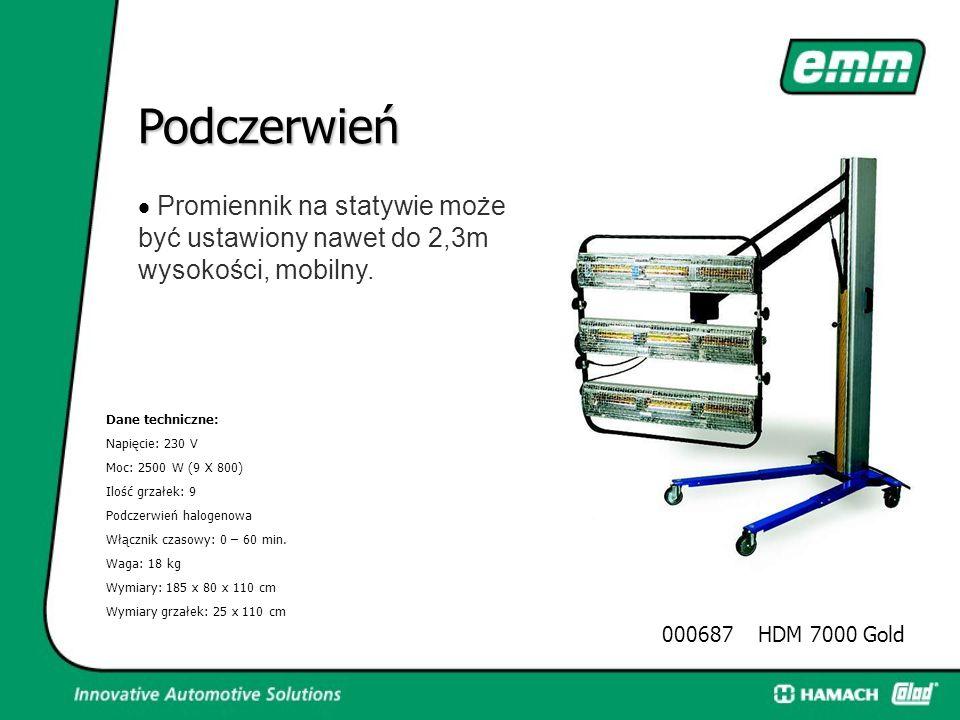 Podczerwień · Promiennik na statywie może być ustawiony nawet do 2,3m wysokości, mobilny. Dane techniczne: