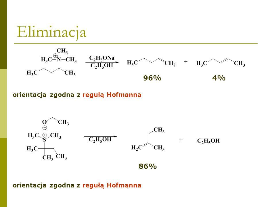 Eliminacja 96% 4% 86% orientacja zgodna z regułą Hofmanna