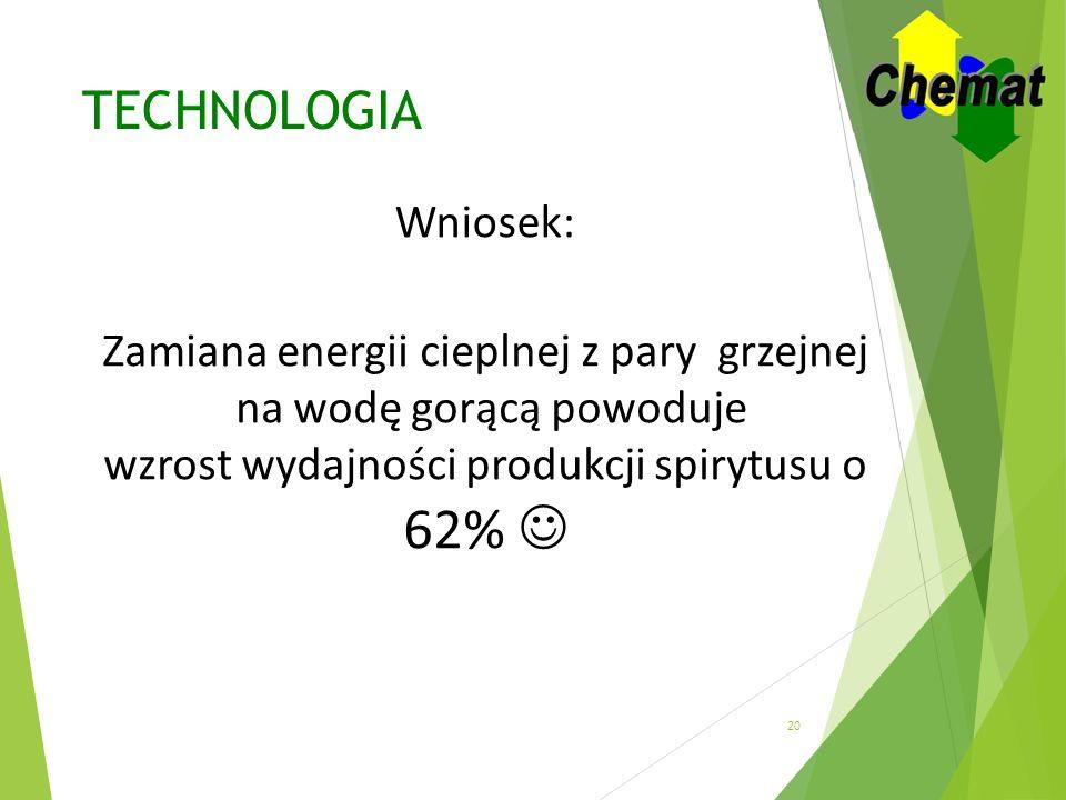 62%  TECHNOLOGIA Wniosek: Zamiana energii cieplnej z pary grzejnej