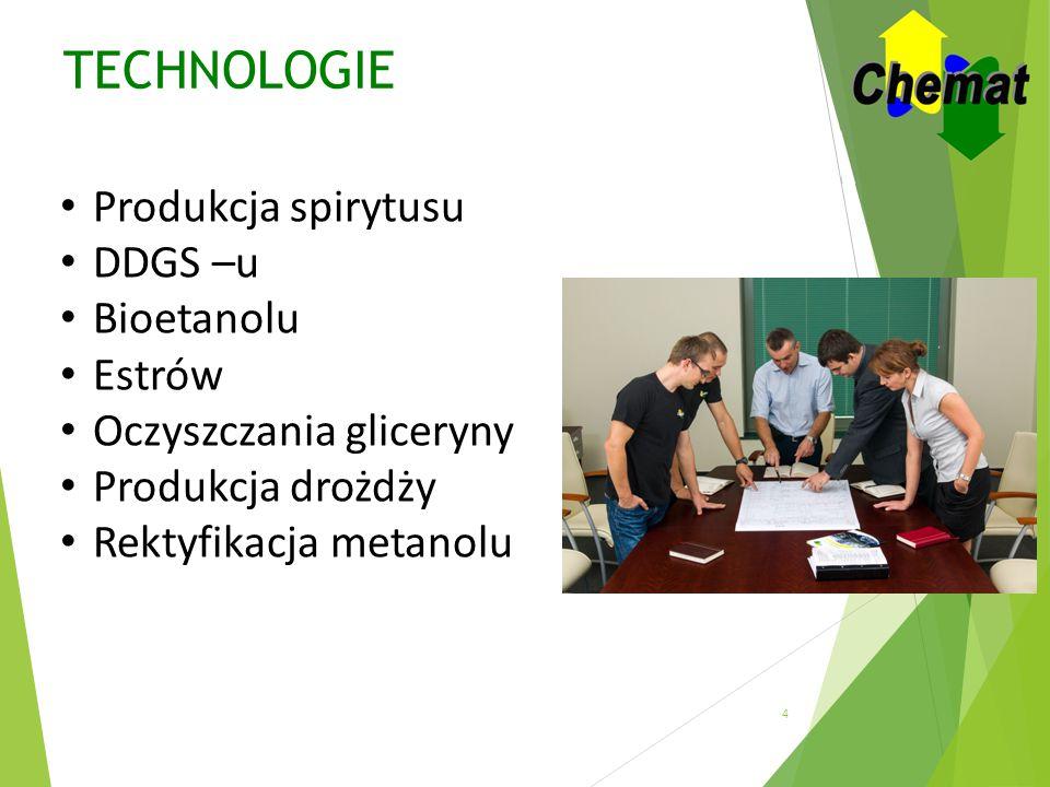 TECHNOLOGIE Produkcja spirytusu DDGS –u Bioetanolu Estrów
