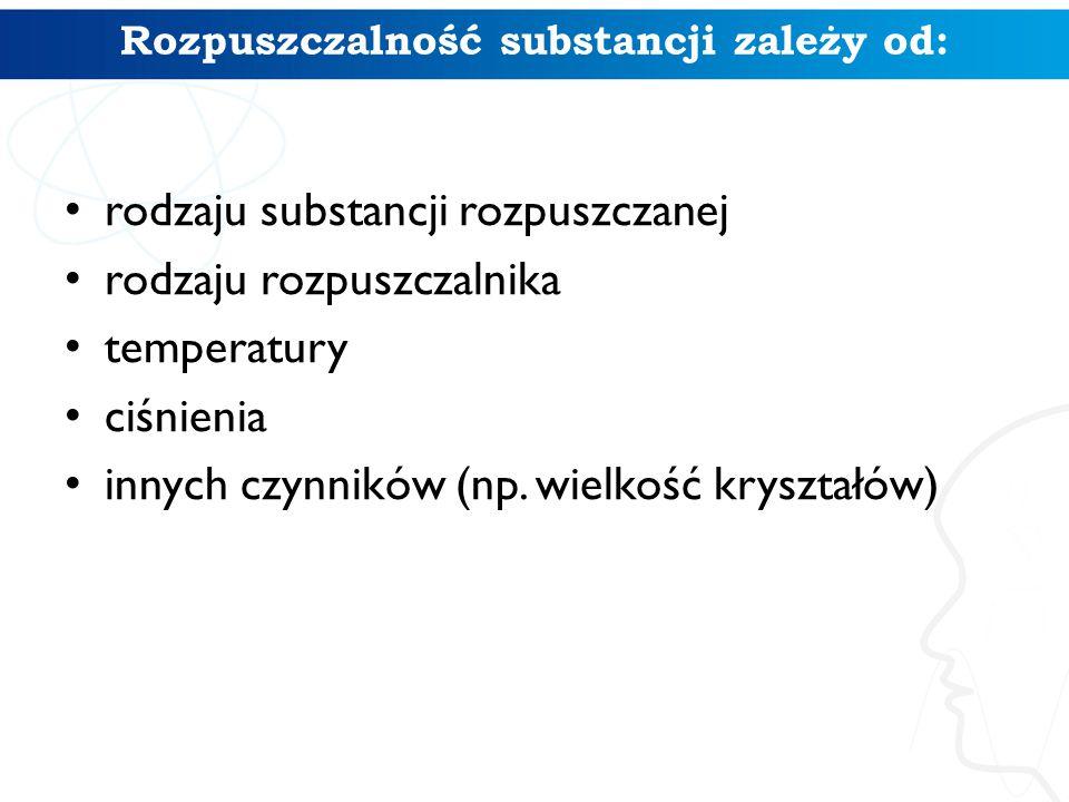 Rozpuszczalność substancji zależy od: