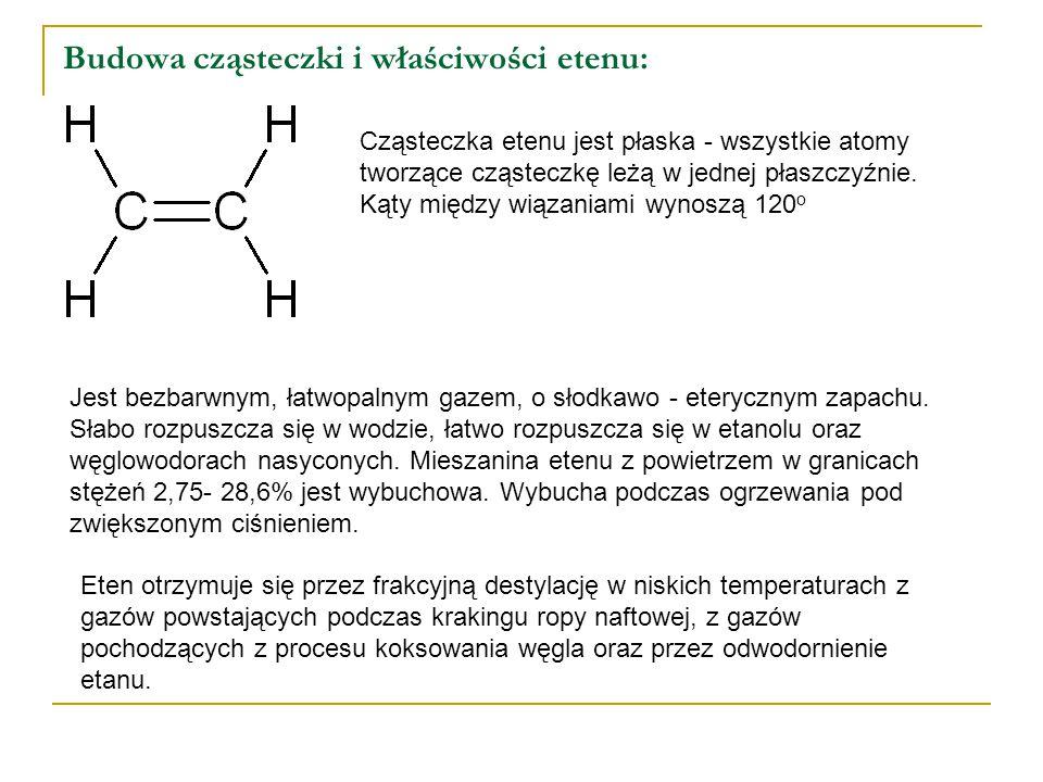 Budowa cząsteczki i właściwości etenu: