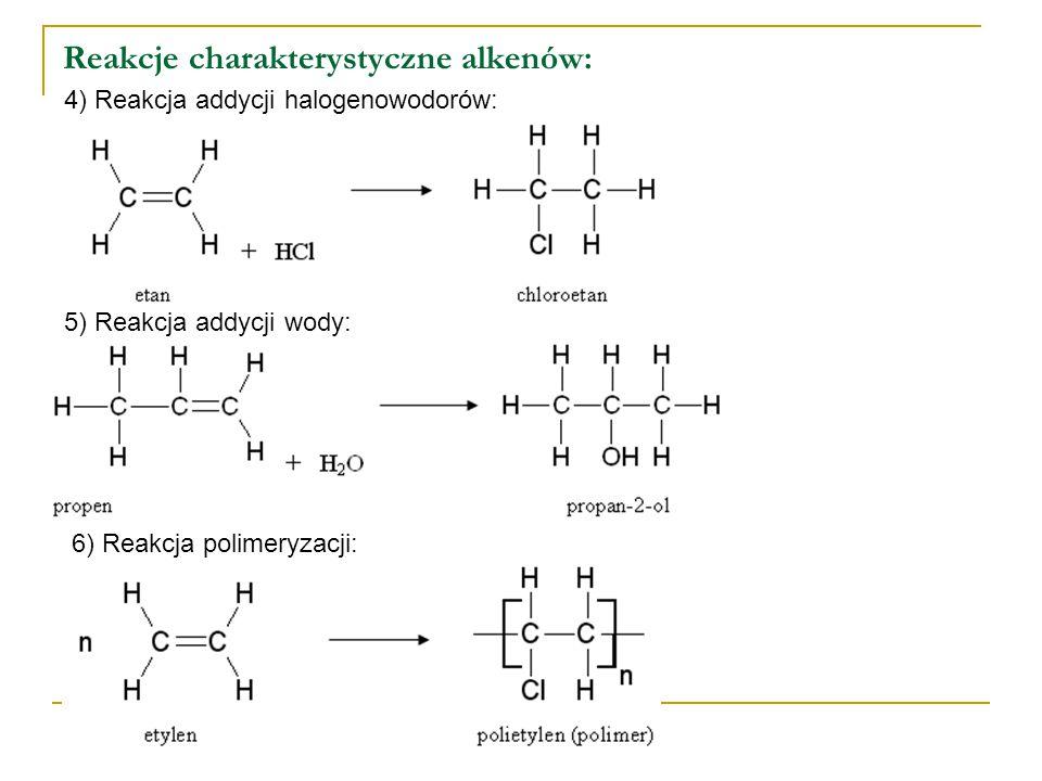Reakcje charakterystyczne alkenów: