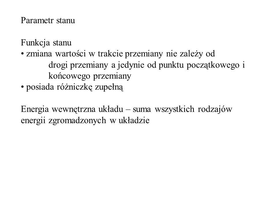 Parametr stanu Funkcja stanu.