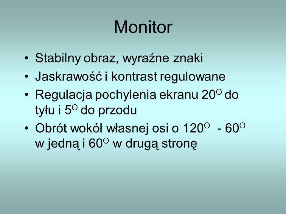 Monitor Stabilny obraz, wyraźne znaki Jaskrawość i kontrast regulowane