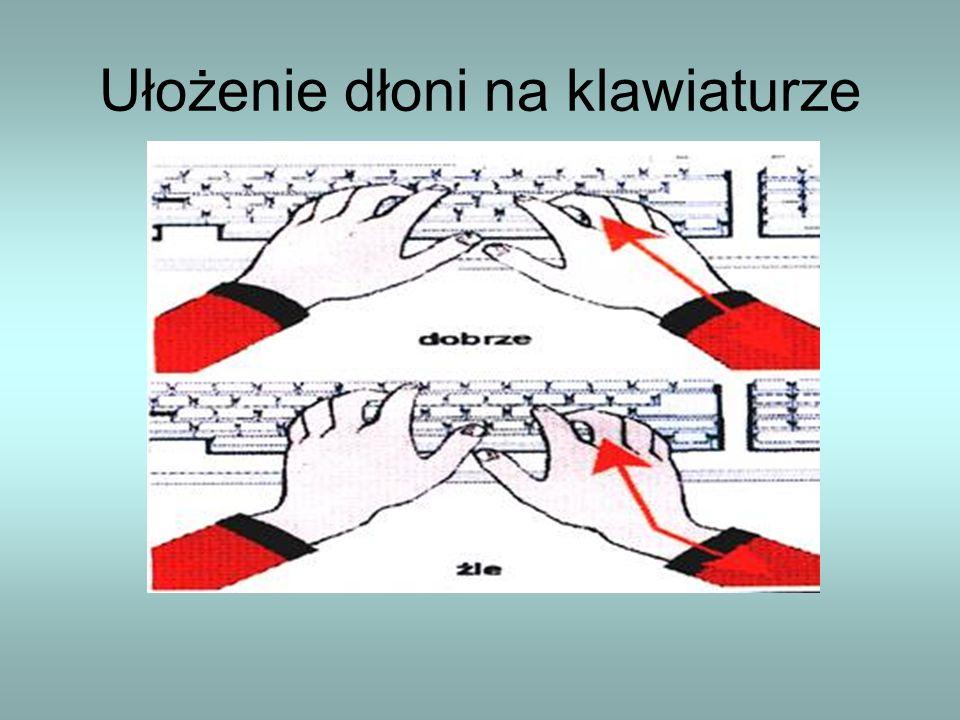Ułożenie dłoni na klawiaturze