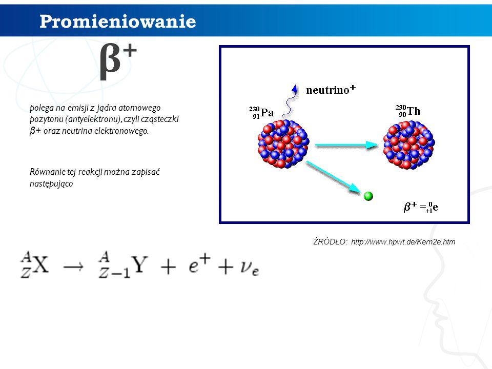Promieniowanie β+ polega na emisji z jądra atomowego pozytonu (antyelektronu), czyli cząsteczki β+ oraz neutrina elektronowego.