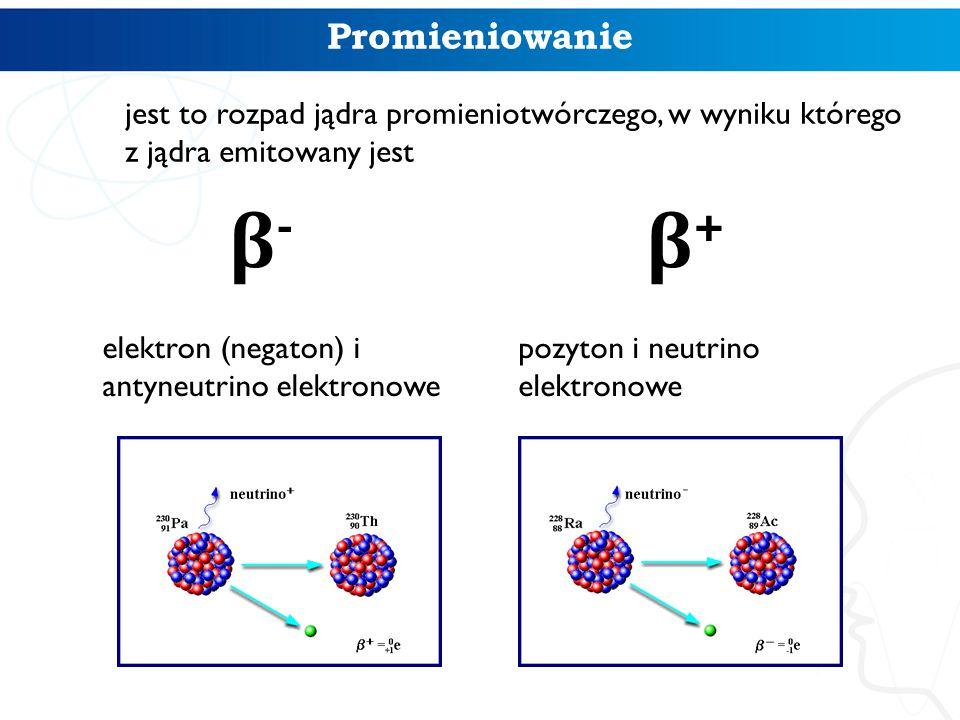 Promieniowanie jest to rozpad jądra promieniotwórczego, w wyniku którego z jądra emitowany jest. β-