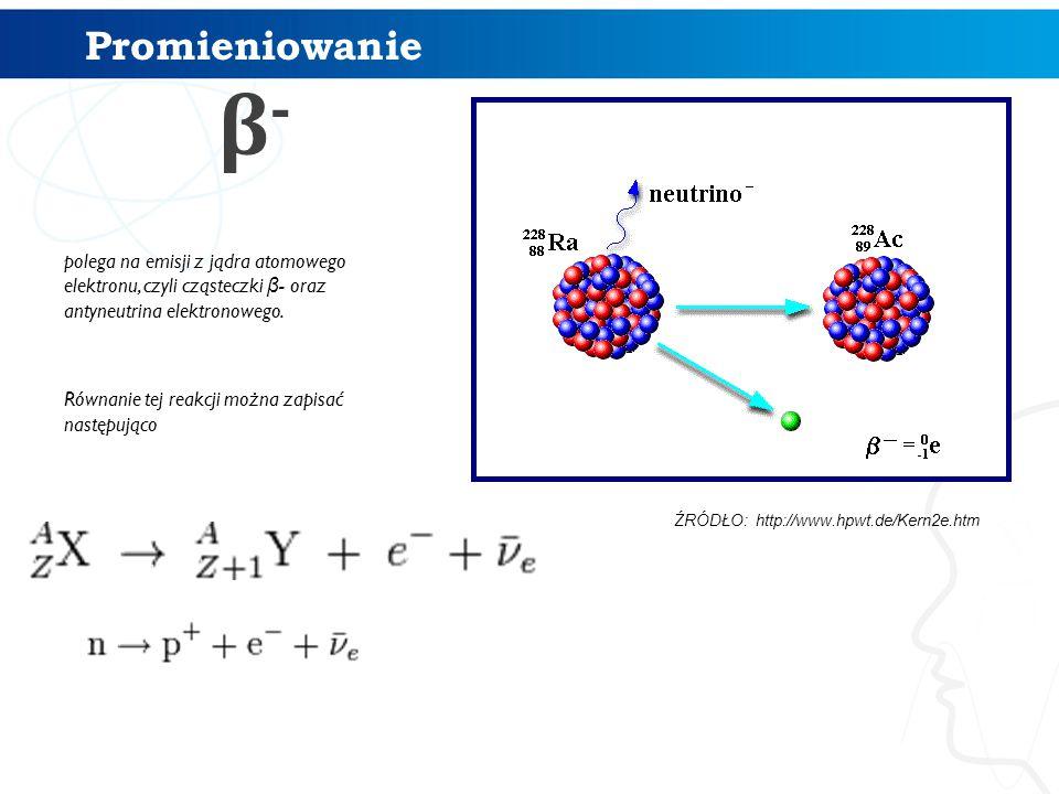 Promieniowanie β- polega na emisji z jądra atomowego elektronu, czyli cząsteczki β- oraz antyneutrina elektronowego.