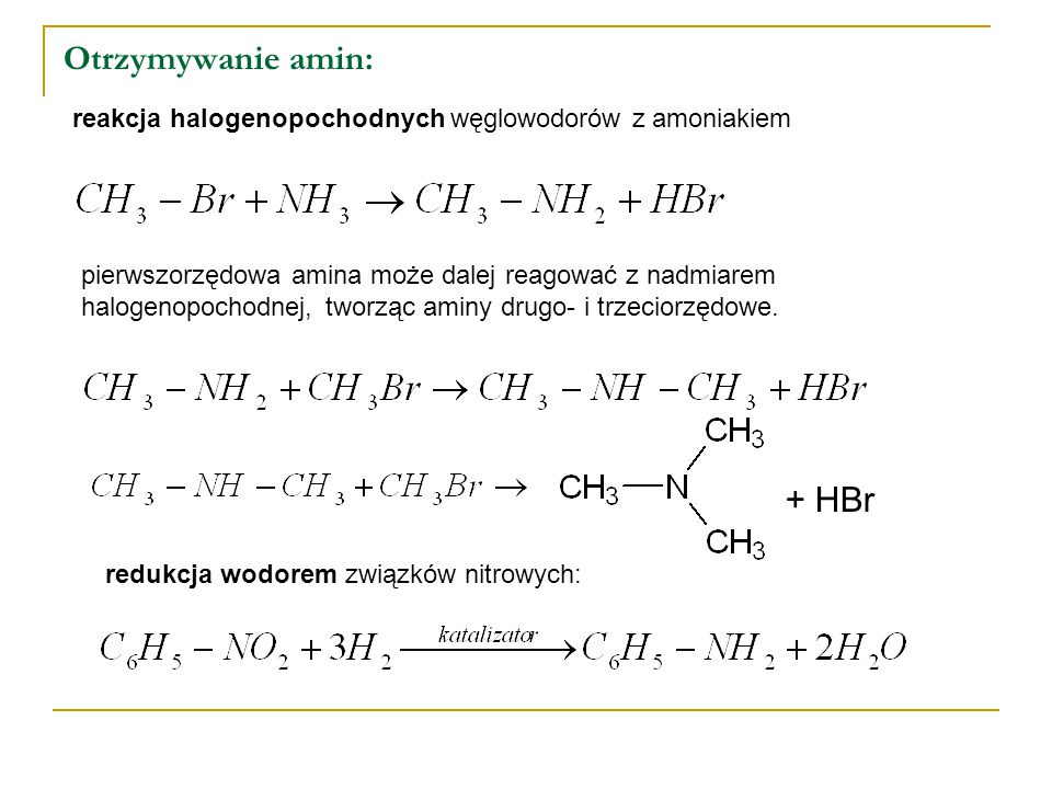 Otrzymywanie amin: + HBr