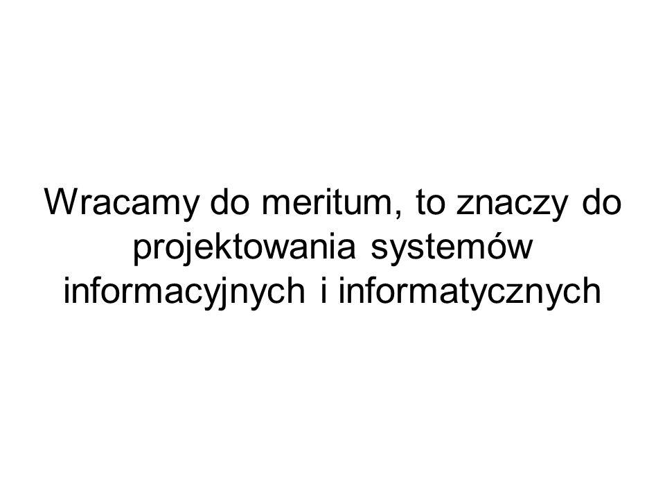 Wracamy do meritum, to znaczy do projektowania systemów informacyjnych i informatycznych