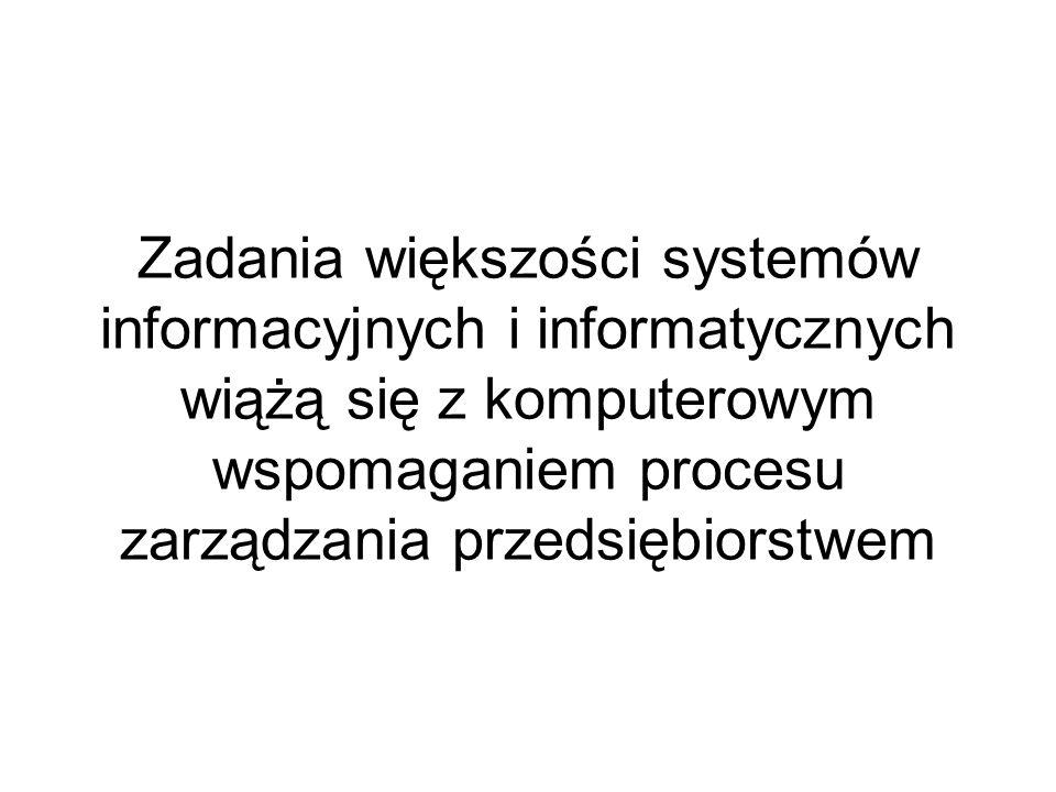 Zadania większości systemów informacyjnych i informatycznych wiążą się z komputerowym wspomaganiem procesu zarządzania przedsiębiorstwem