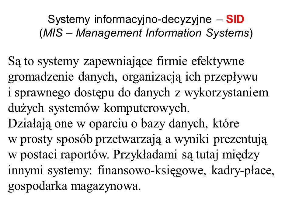 Systemy informacyjno-decyzyjne – SID (MIS – Management Information Systems)