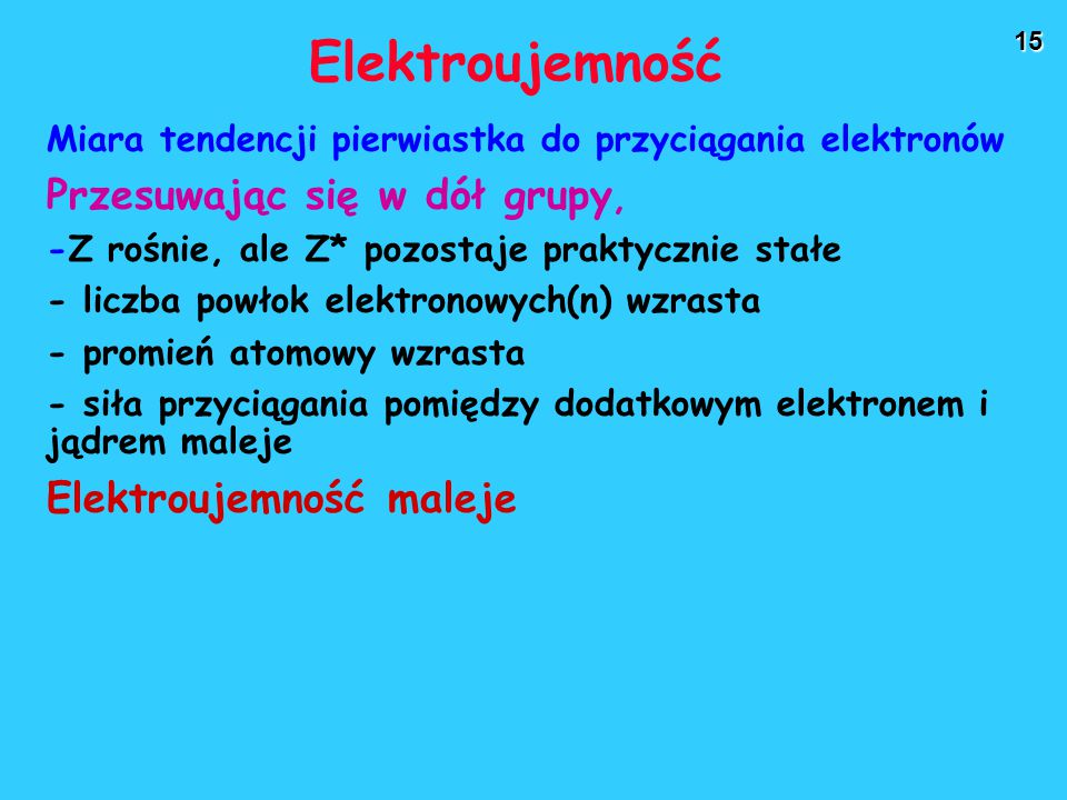 Elektroujemność Przesuwając się w dół grupy, Elektroujemność maleje