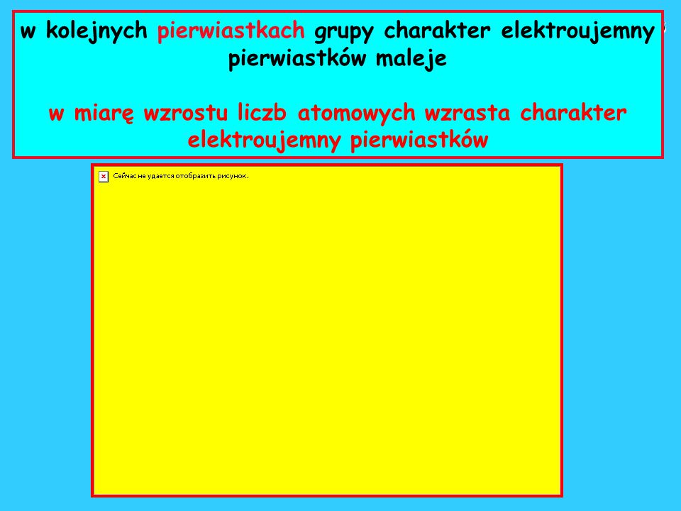 w kolejnych pierwiastkach grupy charakter elektroujemny pierwiastków maleje