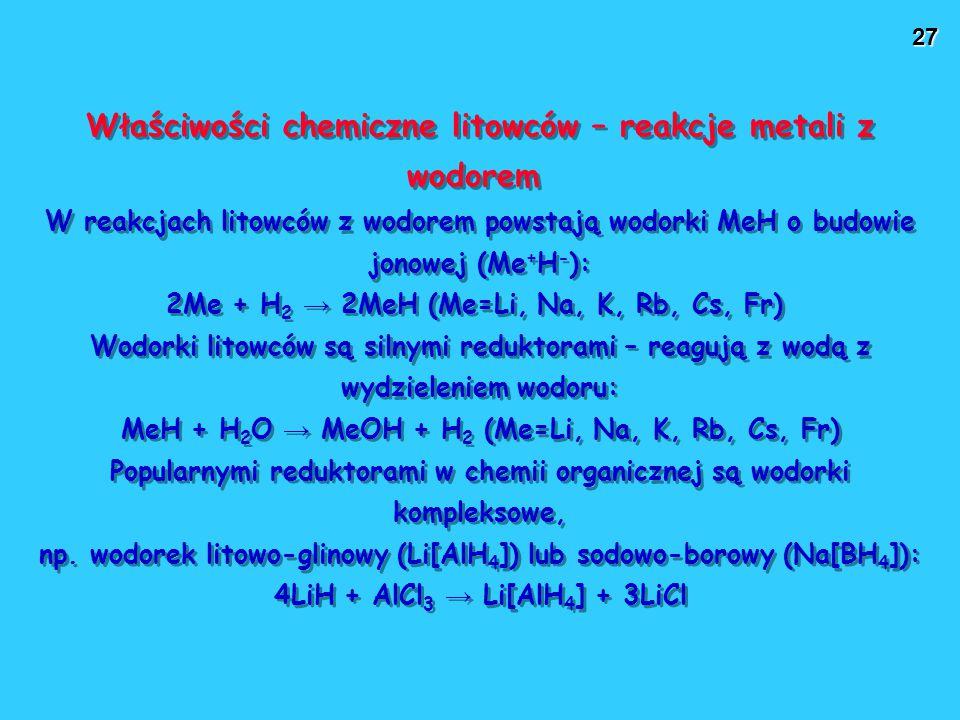 Właściwości chemiczne litowców – reakcje metali z wodorem