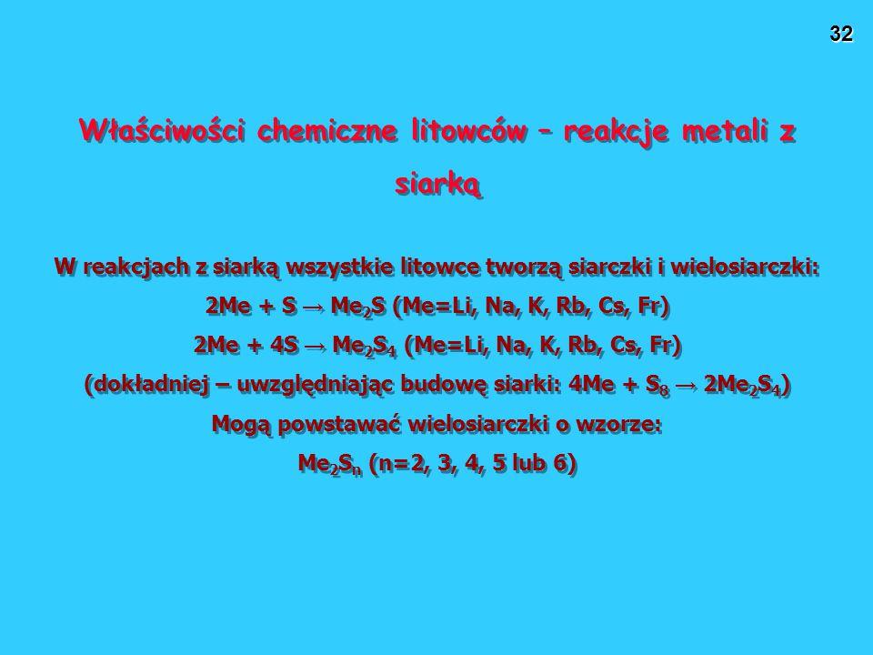 Właściwości chemiczne litowców – reakcje metali z siarką