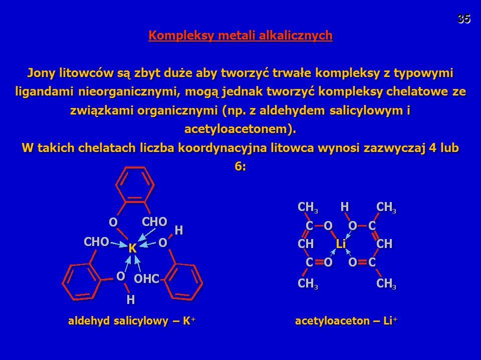 Kompleksy metali alkalicznych aldehyd salicylowy – K+