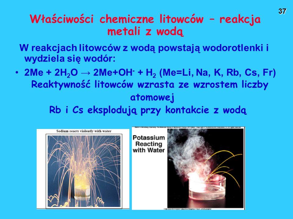 Właściwości chemiczne litowców – reakcja metali z wodą