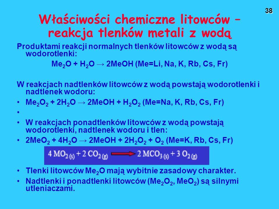 Właściwości chemiczne litowców – reakcja tlenków metali z wodą
