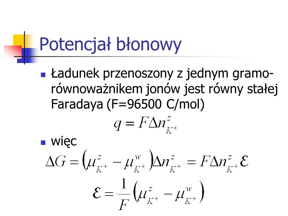 Potencjał błonowy Ładunek przenoszony z jednym gramo-równoważnikem jonów jest równy stałej Faradaya (F=96500 C/mol)
