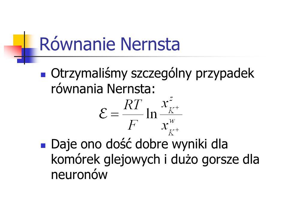 Równanie Nernsta Otrzymaliśmy szczególny przypadek równania Nernsta: