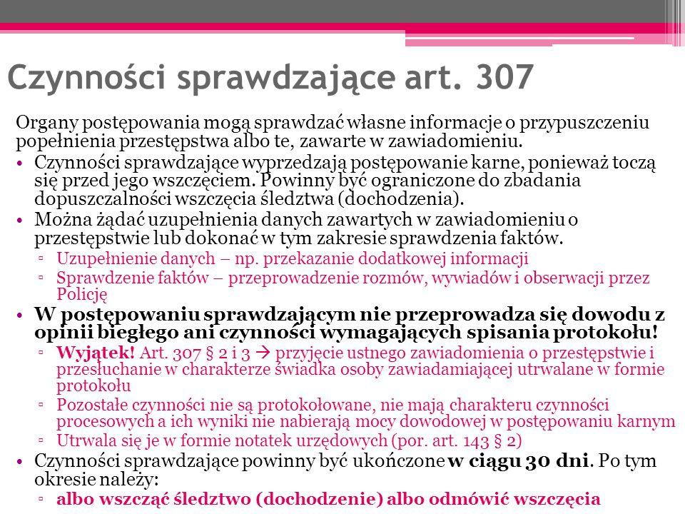Czynności sprawdzające art. 307