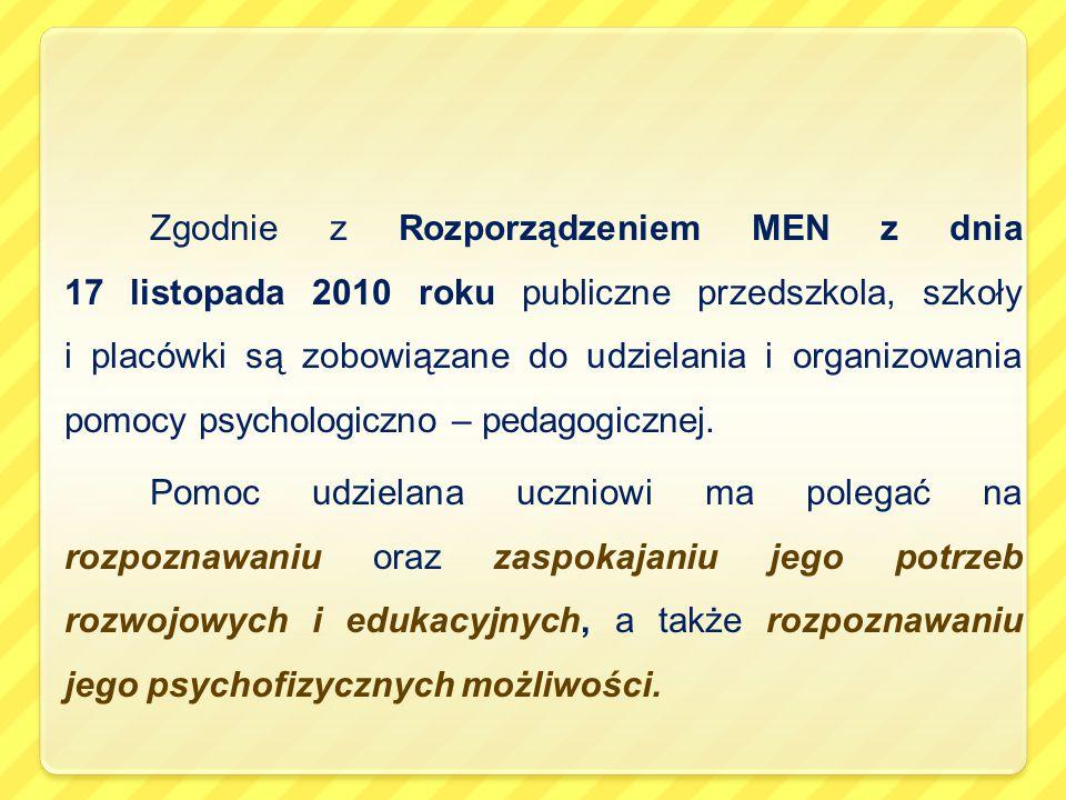 Zgodnie z Rozporządzeniem MEN z dnia 17 listopada 2010 roku publiczne przedszkola, szkoły i placówki są zobowiązane do udzielania i organizowania pomocy psychologiczno – pedagogicznej.