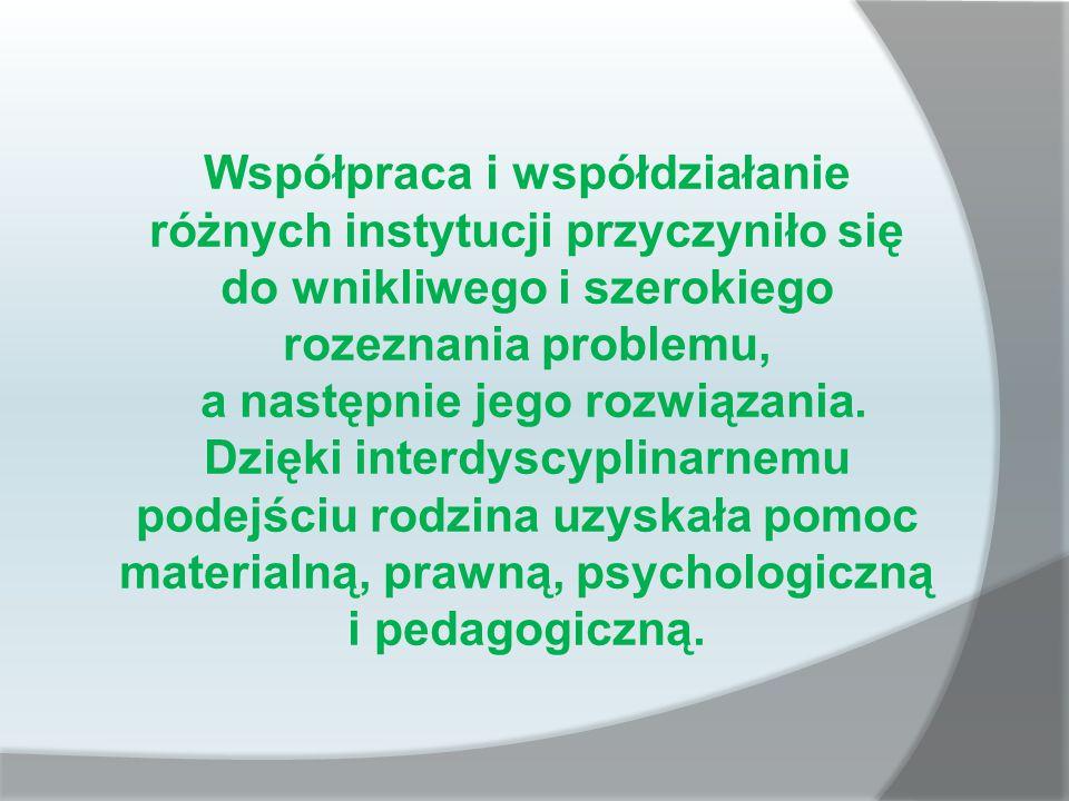 Współpraca i współdziałanie różnych instytucji przyczyniło się do wnikliwego i szerokiego rozeznania problemu, a następnie jego rozwiązania.