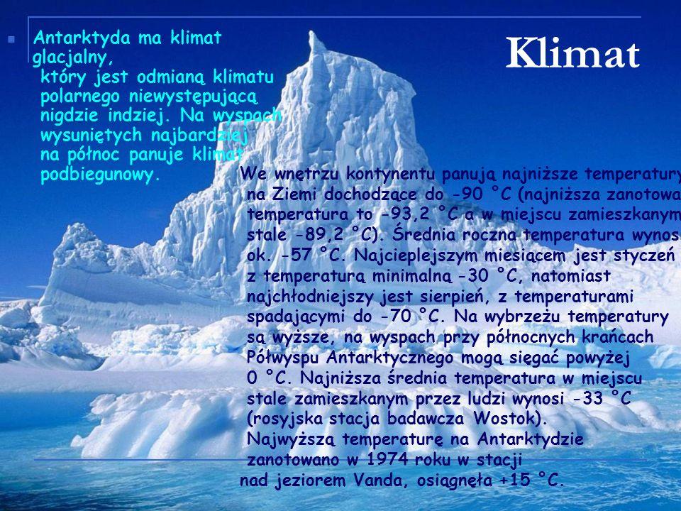Antarktyda ma klimat glacjalny, który jest odmianą klimatu polarnego niewystępującą nigdzie indziej. Na wyspach wysuniętych najbardziej na północ panuje klimat podbiegunowy.