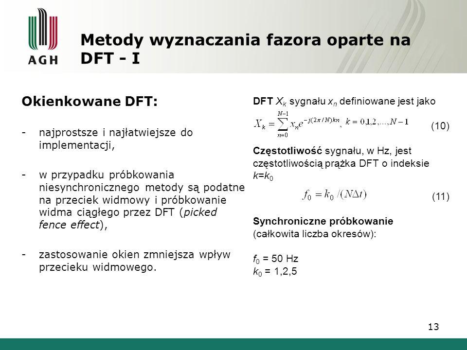 Metody wyznaczania fazora oparte na DFT - I
