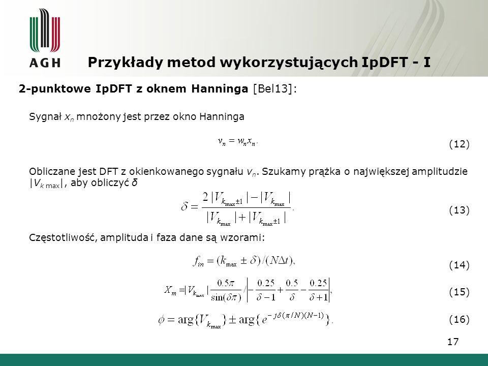 Przykłady metod wykorzystujących IpDFT - I