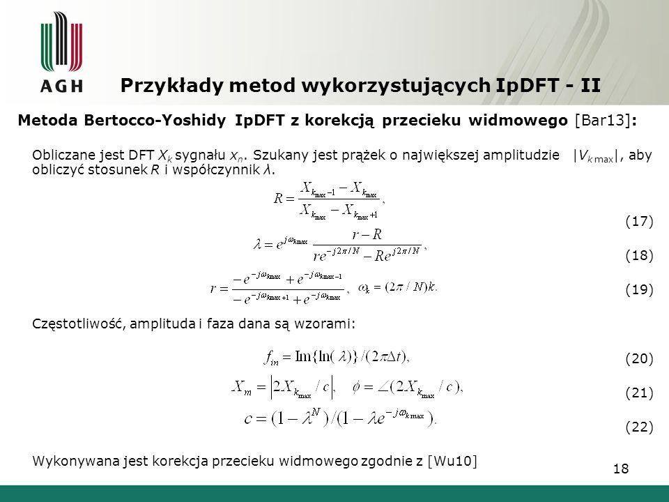 Przykłady metod wykorzystujących IpDFT - II