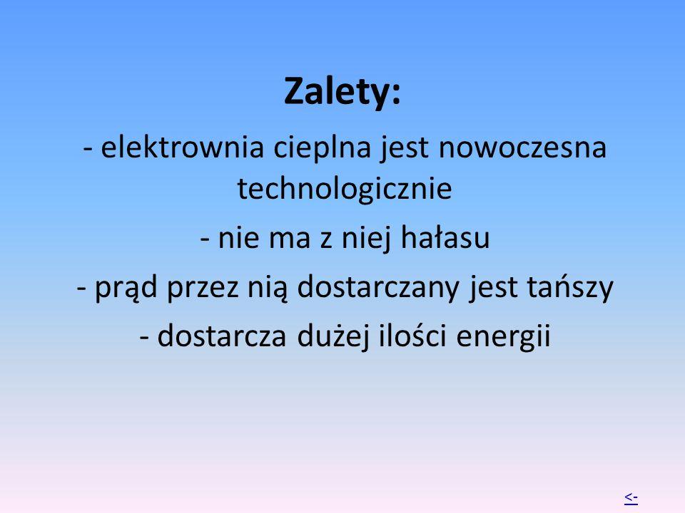Zalety: - elektrownia cieplna jest nowoczesna technologicznie